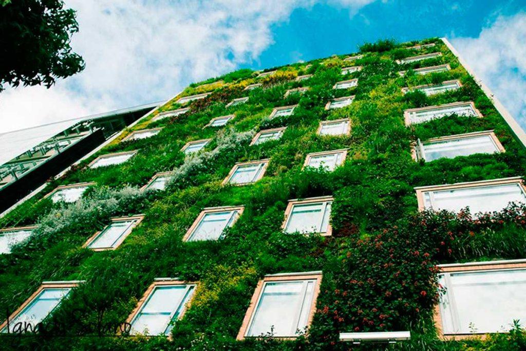 El jardín vertical interior de Ignacio Solano - Hotel Gaia B3, Bogotá, colaboración con Groncol