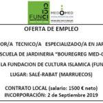 OFERTA DE TRABAJO en ESCUELA DE JARDINERIA en RABAT (formador técnico especializado jardinería)