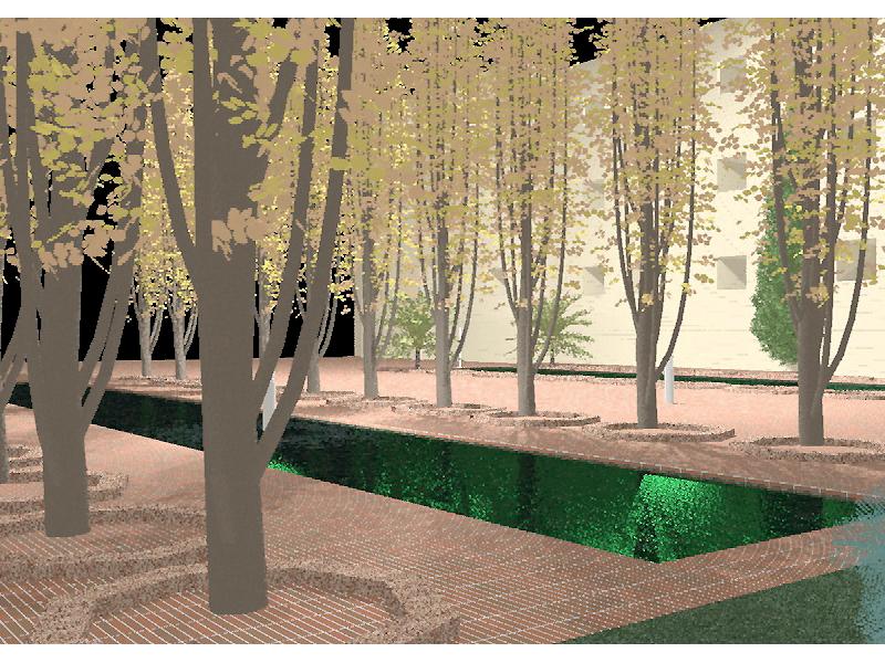 curso fotorrealismo - jardin clasico con estanque